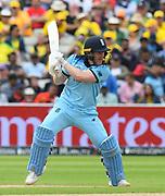 Eoin Morgan of England batting during the ICC Cricket World Cup 2019 semi final match between Australia and England at Edgbaston, Birmingham, United Kingdom on 11 July 2019.