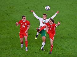 CARDIFF, WALES - Thursday, September 6, 2018: Wales' Joe Allen in action against Ireland's Callum Robinson during the UEFA Nations League Group Stage League B Group 4 match between Wales and Republic of Ireland at the Cardiff City Stadium. (Pic by Laura Malkin/Propaganda)