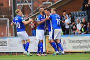 GOAL Niall Canavan celebrates 1-0  during the EFL Sky Bet League 1 match between Rochdale and Southend United at Spotland, Rochdale, England on 8 October 2016. Photo by Daniel Youngs.