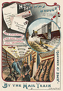 Mail train carrying letters to London from towns and cities in Britain. It shows sorters at work on board and, inset, the way sacks of letters could be left at destinations en route or collected in a net while the train was moving at speed. From 'Bubbles' c1900 published by Dr Barnardo's Homes for children. Oleograph.