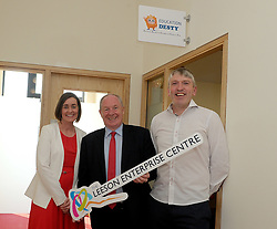 At the opening of the Leeson Enterprise Centre Westport, Stephanie and Noel O'Malley from Education Desty with Michael Ring Minister for Rural and Community Development.<br /> Pic Conor McKeown