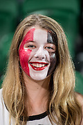 Crusaders fan shows her colours  during the Canterbury Crusaders v the Western Force Super Rugby Match. Nib Stadium, Perth, Western Australia, 8th April 2016. Copyright Image: Daniel Carson / www.photosport.nz
