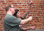 Dwight McCormick of Springfield (left) and Kathy Roll of Dayton during a Lofty Aspirations improv class at The Livery in the Oregon Arts District in Dayton, Wednesday, February 15, 2012.