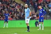 Sergio Aguero (10) of Manchester City waits for the VAR decision during the Carabao Cup Final match between Chelsea and Manchester City at Wembley Stadium, London, England on 24 February 2019.