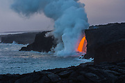 Lava flow into the ocean at Kamokuna, Big Island, Hawaii