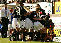 Photo: Frances Leader.<br />Wycombe Wanderers v Chester City. Coca Cola League 2.<br />01/10/2005.<br /><br />Chester's captain Michael  Branch celebrates with his team mates his second gaol against Wycombe.