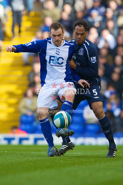 BIRMINGHAM, ENGLAND - Saturday, April 12, 2008: Everton's Joleon Lescott in action against Birmingham City's James McFadden during the Premiership match at St Andrews. (Photo by David Rawcliffe/Propaganda)