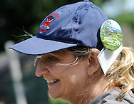 "Lauren Travis, of New Hope, Pennsylvania wears a cap with a button for the Bucks County Plein Air Festival Wednesday June 8, 2016 at the Mercer Museum in Doylestown, Pennsylvania.  The competitively-selected artists will paint outdoors ""en plein air"" or ""in open air"" over the course of three days in various locations throughout the county to create various landscapes and streetscapes. (Photo by William Thomas Cain)"