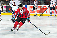 KELOWNA, CANADA - MARCH 9:  Leif Mattson #28 of the Kelowna Rockets warms up against the Kamloops Blazers on March 9, 2019 at Prospera Place in Kelowna, British Columbia, Canada.  (Photo by Marissa Baecker/Shoot the Breeze)