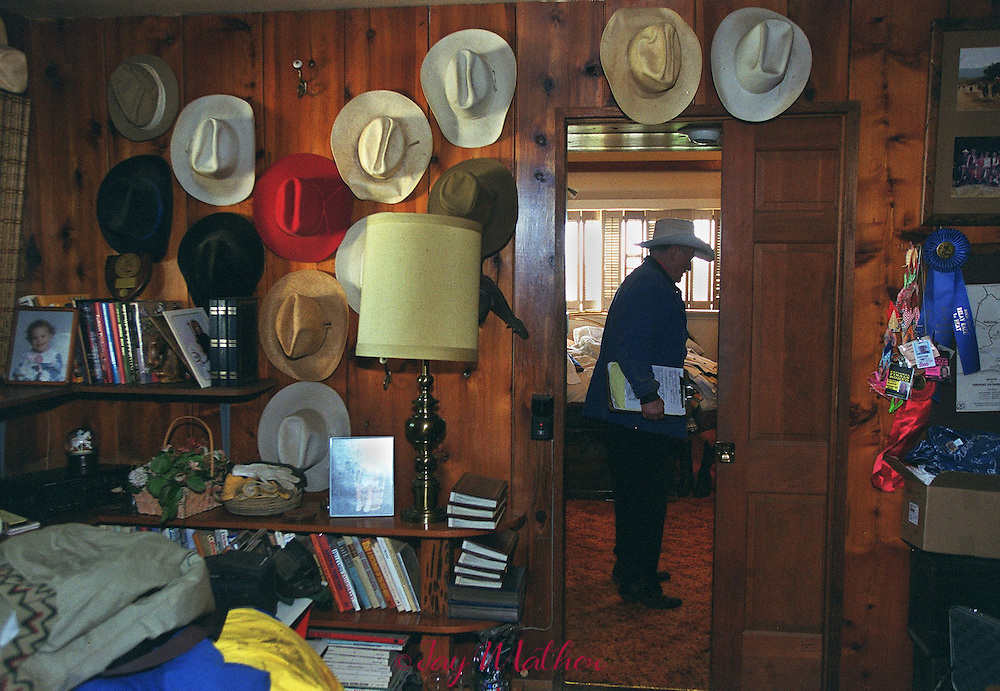 Cotton Rosser, rodeo stock provider and land owner near the proposed Yuba County racetrack, prepares to leave his home on 40 Mile Rd. to go to his office in Marysville, November 9, 2000.   His home is a testament to his lifestyle of horses, rodeos and family.