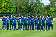 The Scotland cricket team sing their national anthem before the One Day International match between Scotland and Afghanistan at The Grange Cricket Club, Edinburgh, Scotland on 10 May 2019.