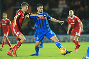 Jordan Williams controls the ball during the EFL Sky Bet League 1 match between Rochdale and Accrington Stanley at Spotland, Rochdale, England on 24 November 2018.