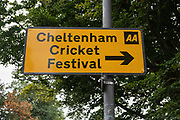 Direction sign to the Festival before the Specsavers County Champ Div 2 match between Gloucestershire County Cricket Club and Leicestershire County Cricket Club at the Cheltenham College Ground, Cheltenham, United Kingdom on 15 July 2019.