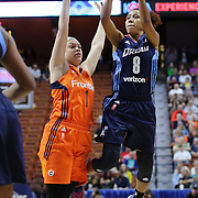 UNCASVILLE, CONNECTICUT- JUNE 3:  Carla Cortijo #8 of the Atlanta Dream shoots while defended by Rachel Banham #1 of the Connecticut Sun during the Atlanta Dream Vs Connecticut Sun, WNBA regular season game at Mohegan Sun Arena on June 3, 2016 in Uncasville, Connecticut. (Photo by Tim Clayton/Corbis via Getty Images)