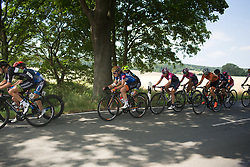 The peloton in strung out near the end of the first lap of Stage 6 of the Lotto Thuringen Ladies Tour - a 80.5 km road race, starting and finishing in Gotha on July 18, 2017, in Thuringen, Germany. (Photo by Balint Hamvas/Velofocus.com)