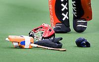 AMSTERDAM - ILLUSTRATIE. Stock. Amsterdam doelman Klaas Vering, zondag tijdens de hockeytopper bij de mannen tussen Amsterdam en Bloemendaal (2-3).