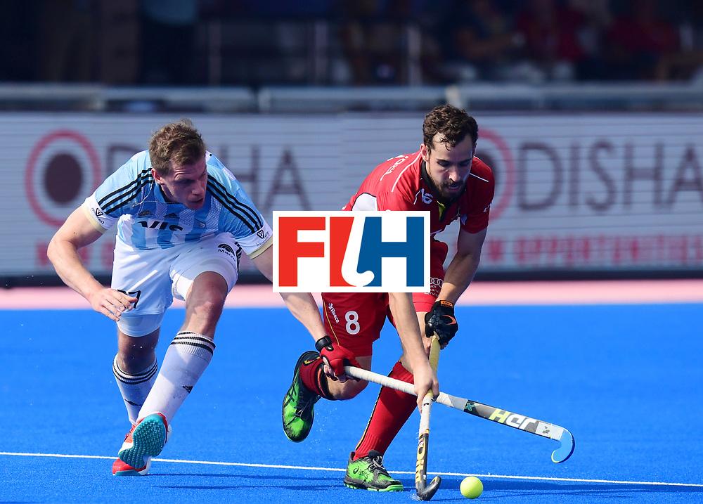 Odisha Men's Hockey World League Final Bhubaneswar 2017<br /> Match id:03<br /> Argentina v Belgium<br /> Foto: Lucas Rossi (Arg) in dual with Florent van Aubel (Bel) <br /> WORLDSPORTPICS COPYRIGHT FRANK UIJLENBROEK