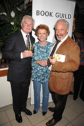 Left to right, actor SIR DEREK JACOBI, PAULINE HYDE and actor SIMON CALLOW at a party to celebrate the publication of Pauline Hyde's book 'Midas Man' held at San Lorenzo, Beauchamp Place, London on 29th May 2008.<br />