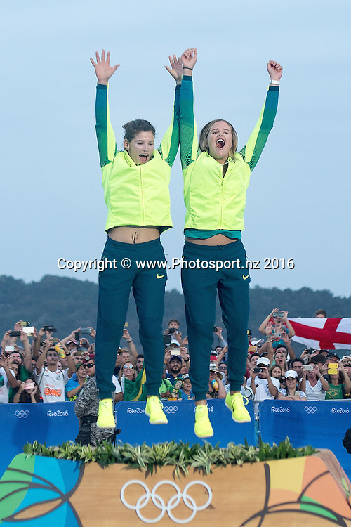 Brazil's Martine Grael and Kahena Kunze Gold celebrate winning Gold during the Women's 49fx class sailing race medal ceremony at the 2016 Rio Olympics on Thursday the 18th of August 2016. © Copyright Photo by Marty Melville / www.Photosport.nz