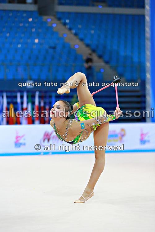 Assymova Aliya during qualifying at clubs in Pesaro World Cup 11 April 2015.<br /> Aliya was born 16 December 1997 in Astana, Kazakhstan. She is a Kazakhstani individual rhythmic gymnast.