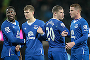 James McCarthy (Everton), Ross Barkley (Everton), John Stones (Everton) and Romelu Lukaku (Everton) form a wall with Manchester City having a free kick on the edge of the box during the Capital One Cup semi-final match between Manchester City and Everton at the Etihad Stadium, Manchester, England on 27 January 2016. Photo by Mark P Doherty.