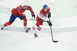 Aleksander Reichenberg of Norway vs David Pastrnak of Czech Republic during the 2017 IIHF Men's World Championship group B Ice hockey match between National Teams of Czech Republic and Norway, on May 11, 2017 in AccorHotels Arena in Paris, France. Photo by Vid Ponikvar / Sportida