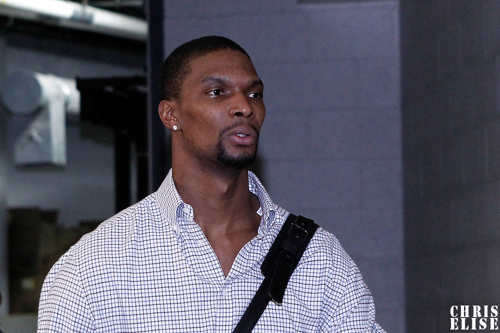 07 June 2012:  Miami Heat power forward Chris Bosh (1) arrives at the TD Garden for Game 6 of the Eastern Conference Finals playoff series, at the TD Banknorth Garden, Boston, Massachusetts, USA.