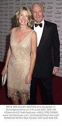 MR & MRS GALEN WESTON at a reception in Buckinghamshire on 11th June 2001.OPB 169
