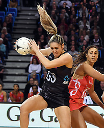 New Zealand's Te Paea Selby-Rickit, left, takes ball in front of England's Geva Mentor in the Taini Jamison Trophy netball series match at Te Rauparaha Arena, Porirua, New Zealand, Thursday, September 07, 2017. Credit:SNPA / Ross Setford  **NO ARCHIVING**