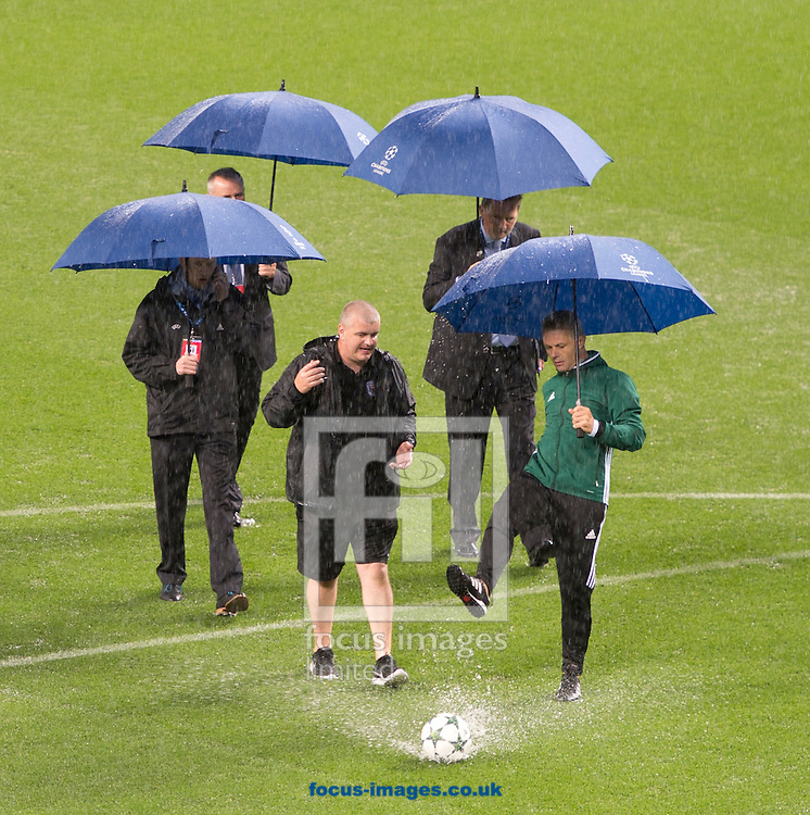 UEFA officials inspect the pitch before the UEFA Champions League match at the Etihad Stadium, Manchester<br /> Picture by Russell Hart/Focus Images Ltd 07791 688 420<br /> 13/09/2016