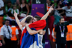 Klemen Prepelic of Slovenia and Aleksej Nikolic of Slovenia celebrating after winning during the Final basketball match between National Teams  Slovenia and Serbia at Day 18 of the FIBA EuroBasket 2017 at Sinan Erdem Dome in Istanbul, Turkey on September 17, 2017. Photo by Vid Ponikvar / Sportida
