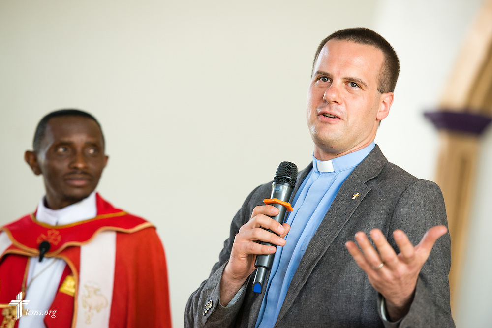 LCMS Office of International Mission Area Director for Eastern and Southern Africa Rev. Shauen Trump shares greetings following a service on Sunday, March 15, 2015, at the Evangelical Lutheran Church in Tanzania – South-East of Lake Victoria Diocese's (ELCT-SELVD) Ebenezer Cathedral in Shinyanga, Tanzania. LCMS Communications/Erik M. Lunsford