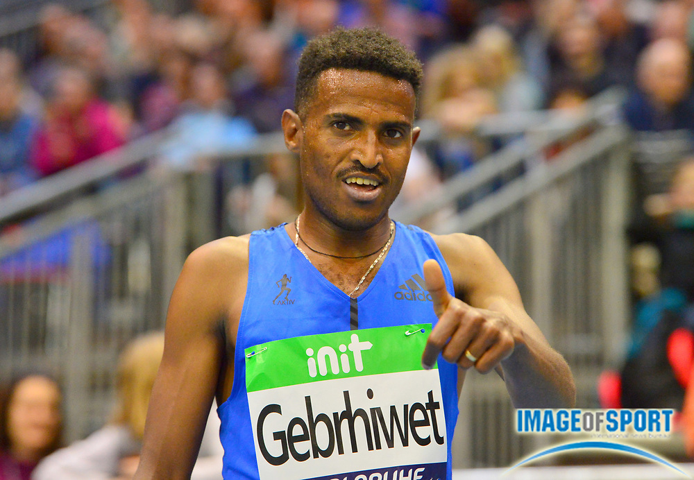 Hagos Gebrhiwet (ETH) poses after winning the 3,000m in 7:37.91 the 34th Indoor Meeting Karlsruhen in an IAAF World Tour competition at the Messe Karlsruhe on Saturday, Feb. 3, 2018 in Karlsruhe, Germany. (Jiro Mochizuki/Image of Sport)