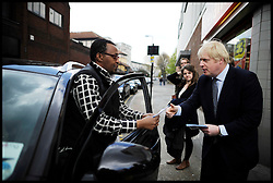 London Mayor Boris Johnson canvassing during the Mayoral Campaign, London, UK, April 13, 2012. Photo By Andrew Parsons / i-Images.