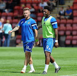 Matty Taylor of Bristol Rovers, Ellis Harrison of Bristol Rovers - Mandatory by-line: Neil Brookman/JMP - 25/07/2015 - SPORT - FOOTBALL - Cheltenham Town,England - Whaddon Road - Cheltenham Town v Bristol Rovers - Pre-Season Friendly