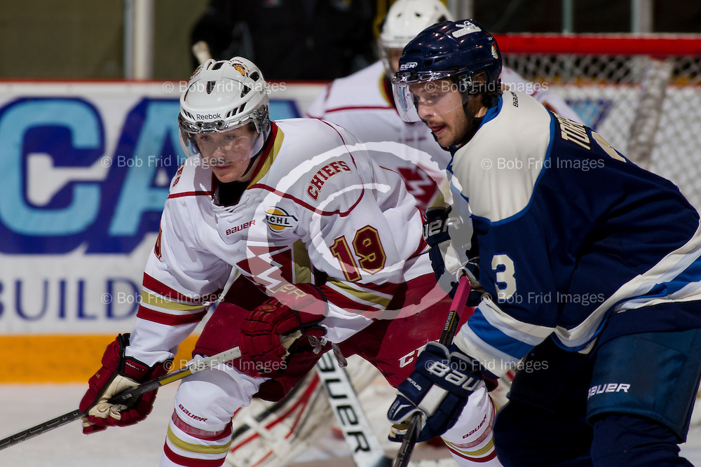 23 November 2013:   Blake Gober (19) of the Chiefs during a game between the Chilliwack Chiefs and the Langley Rivermen at Prospera Centre, Chilliwack, BC.    Final Score: Chilliwack 0 Langley 4   ****(Photo by Bob Frid - All Rights Reserved 2013): mobile: 778-834-2455 : email: bob.frid@shaw.ca ****