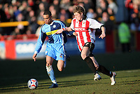 Danny Senda, left for Wycombe,Brian Wilson right for Cheltenham<br /> <br /> Photo: Richard Eaton.<br /> <br /> Cheltenham Town v Wycombe Wanderers. Coca Cola League 2. 04/03/2006.