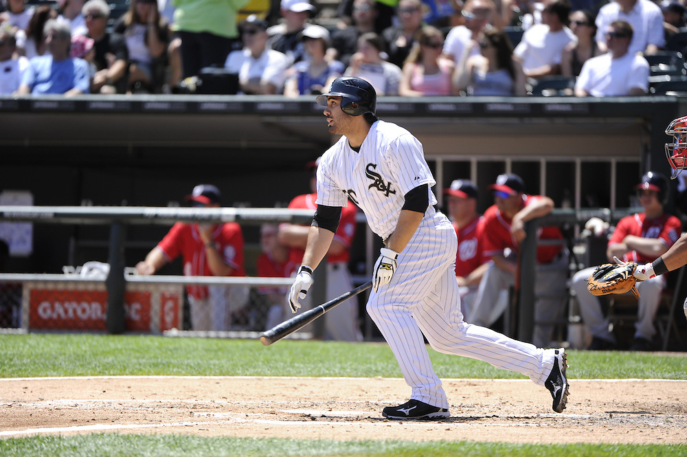 CHICAGO, IL - JUNE 26:  Carlos Quentin #20 of the Chicago White Sox bats against the Washington Nationals on June 26, 2011 at U.S. Cellular Field in Chicago, Illinois.  The Nationals defeated the White Sox 2-1.  (Photo by Ron Vesely/MLB Photos via Getty Images)  *** Local Caption *** Carlos Quentin
