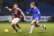 Northampton Town forward Sam Hoskins (14)  and Gillingham midfielder Josh Wright(c) (44) during the EFL Sky Bet League 1 match between Gillingham and Northampton Town at the MEMS Priestfield Stadium, Gillingham, England on 12 November 2016. Photo by Martin Cole.