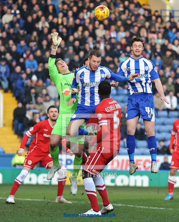 Stevie May of Sheffield Wednesday put pressure on Simon Moore of Cardiff City during the Sky Bet Championship match at Hillsborough, Sheffield<br /> Picture by Richard Land/Focus Images Ltd +44 7713 507003<br /> 07/02/2015