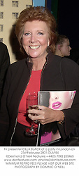 TV presenter CILLA BLACK at a party in London on 21st February 2001.OLM 54