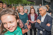 The Mayor of London Sadiq Khan chats with Londoners after they warmed-up at City Hall for the international Big Dance Pledge. On Friday 20 May, over 40,000 people in 43 countries around the world will take part in the Big Dance event, which has been specially choreographed by Akram Khan. Among the Londoners were: Students from University of Roehampton; MovE17 community group; Children from John Scurr Primary School; and the Croydon Community Dance group. This year is the finale of Big Dance, celebrating ten years of grassroots and community dance.