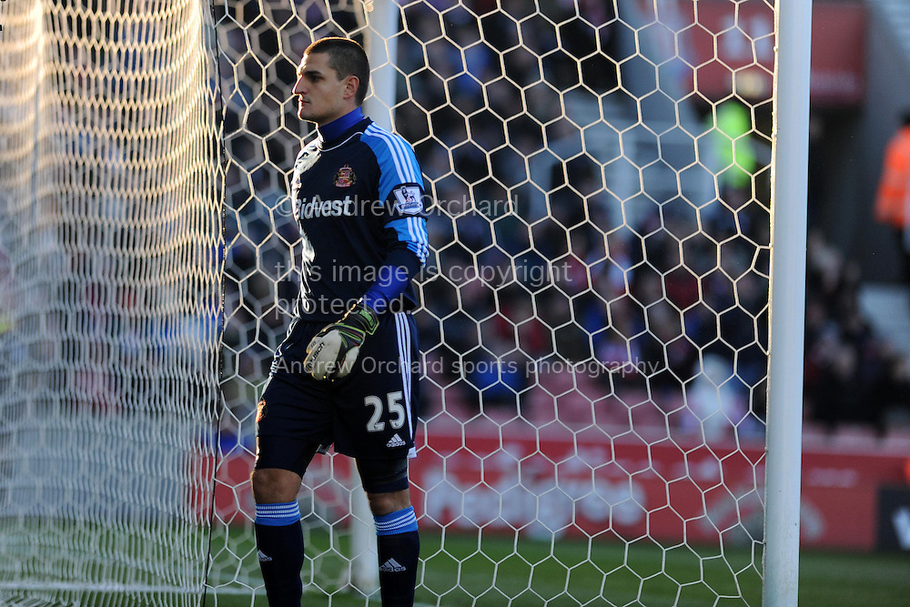Sunderland goalkeeper Vito Mannone. Barclays Premier league, Stoke city v Sunderland at the Britannia stadium in Stoke on Trent, England on Saturday 23rd Nov 2013. pic by Andrew Orchard, Andrew Orchard sports photography,
