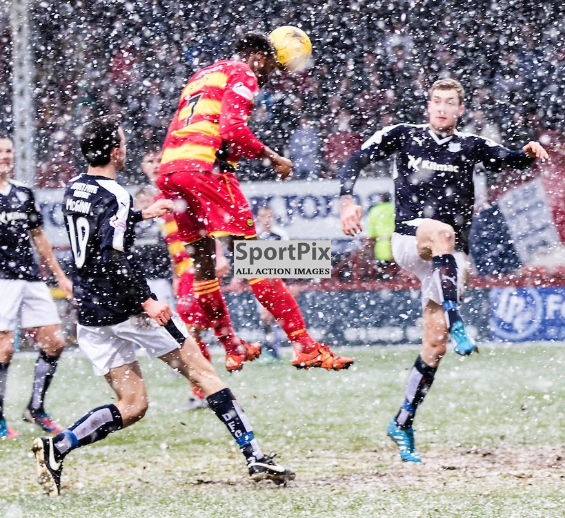 Partick Thistle's David Amoo heads the ball into the net during the Partick Thistle FC V Dundee FC Scottish Premiership game, 16th January 2016; (c) BERNIE CLARK | SportPix.org.uk