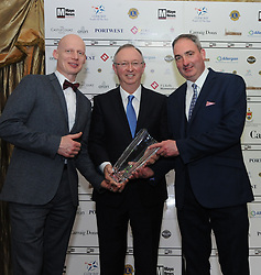 Harry Hughes Portwest presented Des Cafferkey and Peter Carney from the Clew Bay Pipe Band accept with their Westport Lions club Clew Bay People of the Year Award .<br /> Pic Conor McKeown