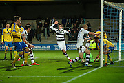 FGR players celebrate Forest Green Rovers Ethan Pinnock(16) goal, 3-3 during the Vanarama National League match between Torquay United and Forest Green Rovers at Plainmoor, Torquay, England on 26 December 2016. Photo by Shane Healey.