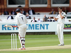 Middlesex's Steven Finn gives Durham's Keaton Jennings a stare - Photo mandatory by-line: Robbie Stephenson/JMP - Mobile: 07966 386802 - 04/05/2015 - SPORT - Football - London - Lords  - Middlesex CCC v Durham CCC - County Championship Division One