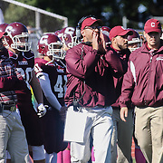 Concord head coach Drew Mitchell yells instructions from the side lines in the third quarter Saturday, Oct. 17, 2015 at Concord Stadium in Wilmington.