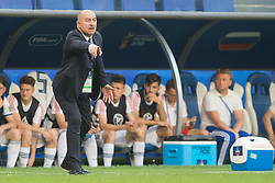 June 25, 2018 - Samara, Russia - Head Coach Stanislav Cherchesov of Russia gives instruction during the 2018 FIFA World Cup Russia group A match between Uruguay and Russia at Samara Arena on June 25, 2018 in Samara, Russia. (Credit Image: © Foto Olimpik/NurPhoto via ZUMA Press)