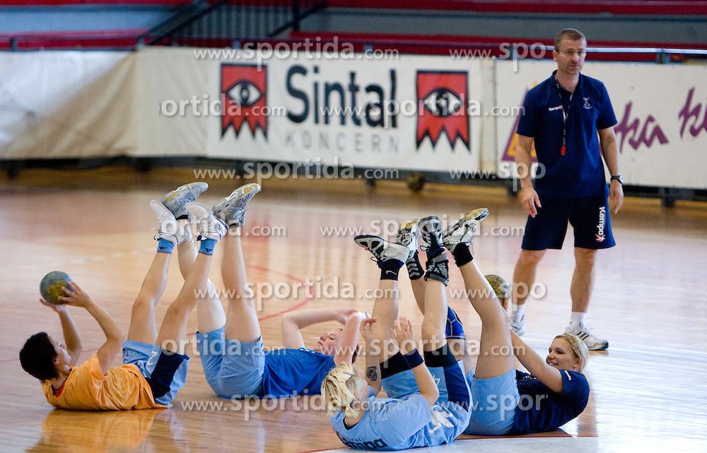Teja Djurovic, Jana Bacar, Maja Zrnec, Neli Irman and Bostjan Brulec at practice of Slovenian Handball Women National Team, on June 3, 2009, in Arena Kodeljevo, Ljubljana, Slovenia. (Photo by Vid Ponikvar / Sportida)